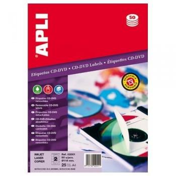 ETIQUETA CD-DVD 114/41 MM. BLANCO 50 UNIDADES REMOVIBLE APLI