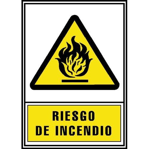 SEÑAL PVC NORMALIZADA RIESGO DE INCENDIO 210X297 AMARILLO ARCHIVO 2000