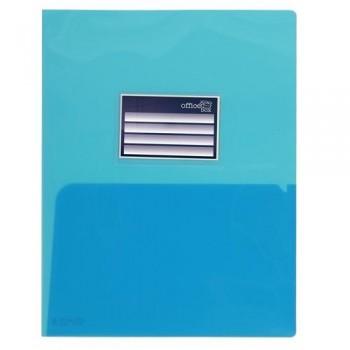 DOSSIER A4 PP 250 MICRAS DOBLE CON TARJETERO AZUL OFFICE BOX