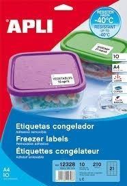 ETIQUETAS APLI DINA4 ESPECIAL GONGELADOR 63,5X38,1 10HOJAS