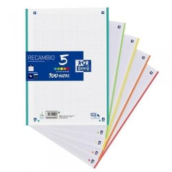 Papel A4 4 taladros 100 hojas 90gr. cuadrícula 5x5 5 colores de banda Oxford