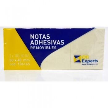 NOTAS ADHESIVAS 40X50 MM.100 HOJAS AMARILLAS PACK 3 UN. OFIEXPERTS
