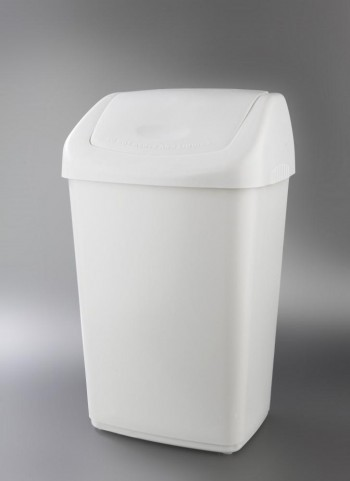 Papelera tapa basculante blanca 50l