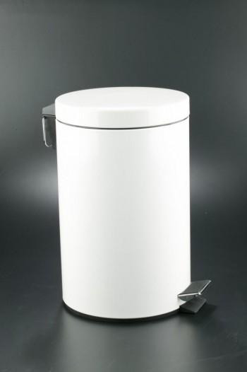 Cubo pedal 12l inoxidable blanco