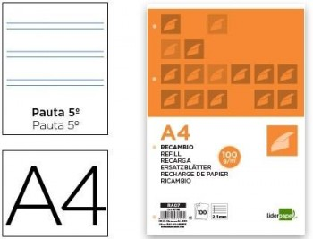 RECAMBIO LIDERPAPEL DINA4 4ANI 2RAYA 2,5 100GRM